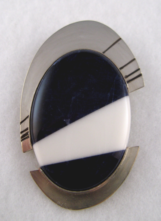 composite cabochon of howlite and sodalite